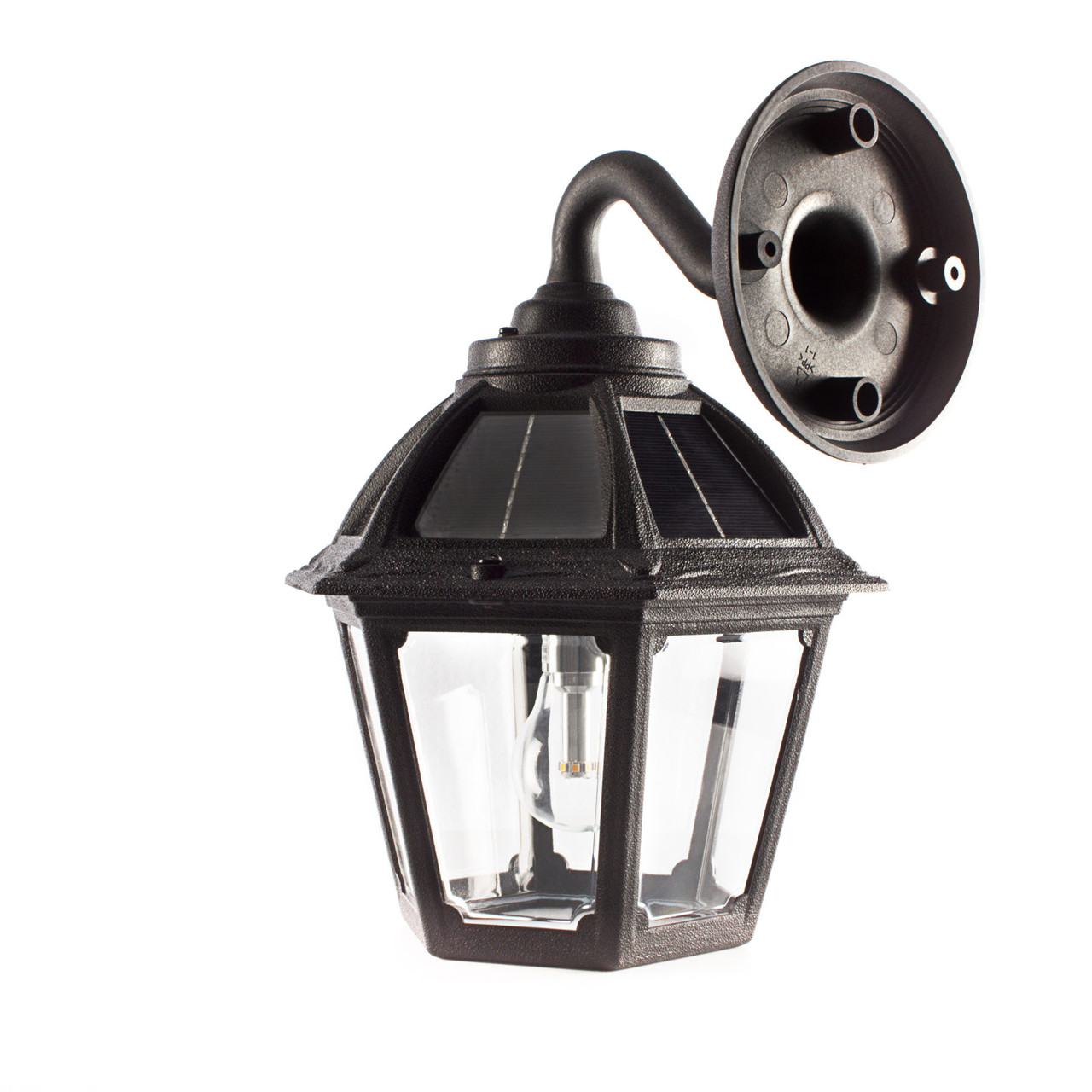 Wall Mount Solar Carriage Lantern Gama Sonic Black Coastal Areas