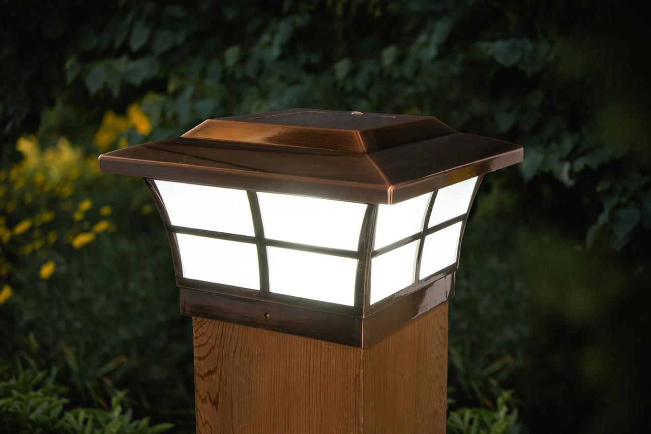 6x6 Solar Post Cap Lights Classy Caps Prestige Copper Post Caps