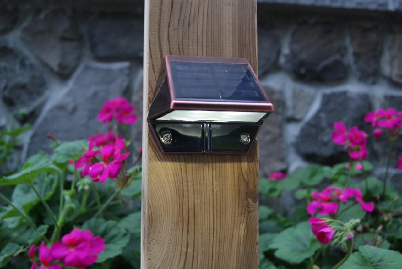 Solar Deck Rail Lights   Copper Low Profile Flat Mounted ...