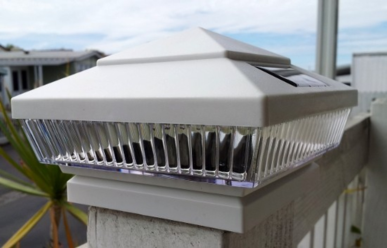 4x4 White Fence Post Solar Cap Lights Set Of 2 Custom Led Finish