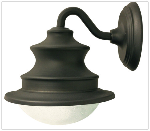 Solar Gooseneck Wall Mount Light with Brown Finish, Glass Dome, and 6 White LED.