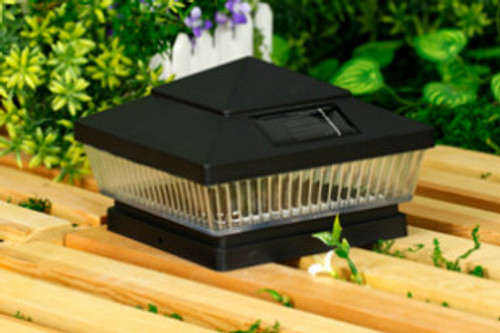 Solar Post Cap Lights Black with 5 Bright White or Color LED Bulbs.