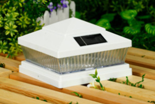Solar Post Cap Lights Low Profile White with 5 White or Color LED Bulbs.