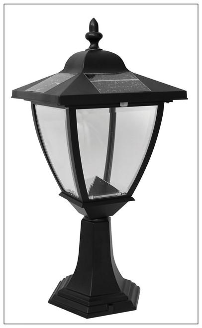 Solar Carriage Lantern Flat Mount With Black Finish and 4 White LED.