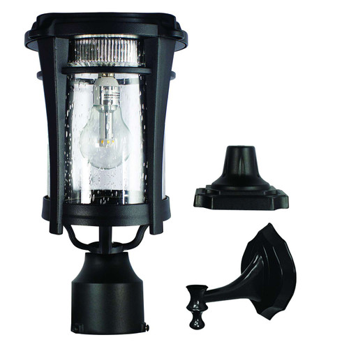 Solar Coach Lantern has a sleek, modern design, and includes hardware for 3 mounting options.