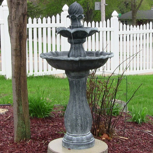 Solar 2 Tier Black Water Fountain with LED Lights, Battery Backup, 45 Inches.