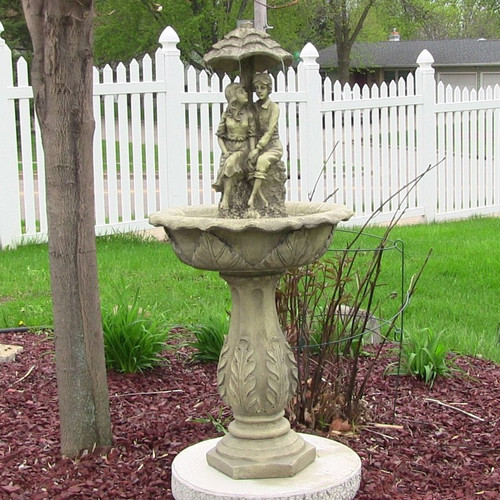 Solar Water Fountains with Lovers under Umbrella, LED Lights and Solar on Demand battery backup, 43 Inches.