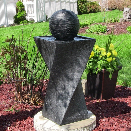 Solar Water Fountain Black Ball and Base, LED Lights, Battery, 32 Inches.