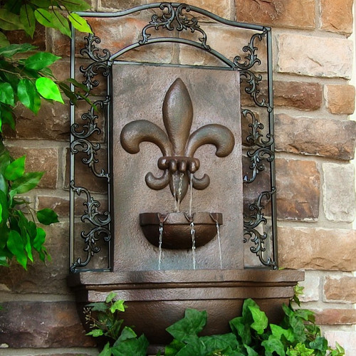 Solar Wall Mount Fleur-de-Lis Fountain in Weathered Iron Finish, LED and Battery Options.