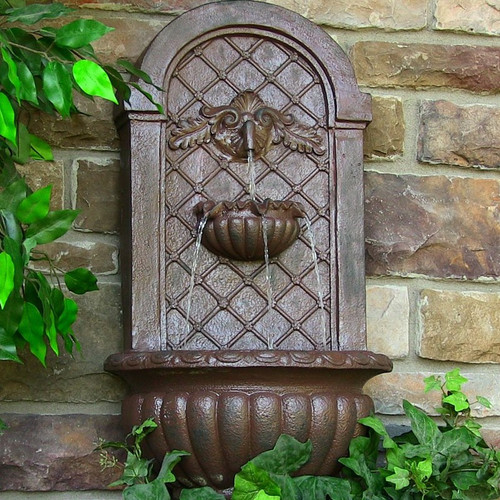 Solar Wall Mount Water Fountain in Weathered Iron Finish, Optional LED Light.
