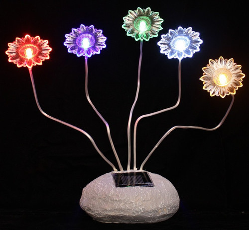 Solar Garden Lights Five Sunflowers On Flexible Stems and Steady On Color LED.