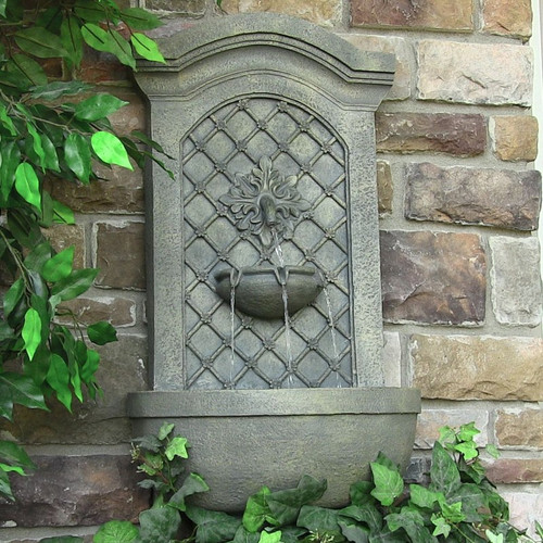 Solar Wall Mount Fountain Rosette in French Limestone, Optional LED Light.