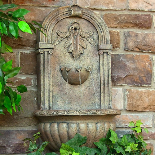 Solar Wall Mount Water Fountain in Florentine Stone Finish, Optional LED Light.