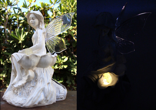 Solar Garden Lights Fairy With Soft White LED that light up the Fairy Wings and Bunny Rabbit.