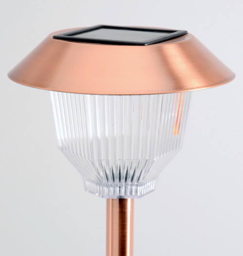 Copper solar path lights are made from stainless steel.