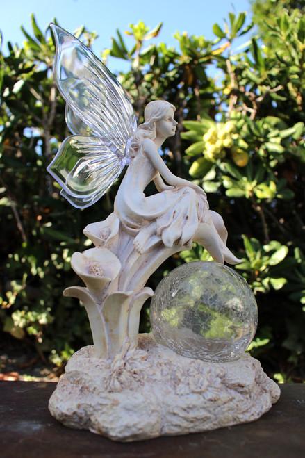 Fairy Solar Light with Crackle Glass Solar Globe and Calla Lilies.