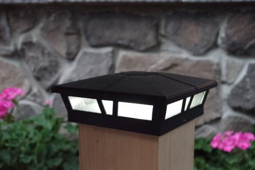 Black 6x6 solar fence post lights for Vinyl, PVC or Wood posts.