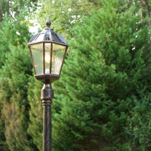 Solar pillar carriage lantern is a Royal Tuscan design with a 3 inch fitter pole to mount onto your existing yard pole.