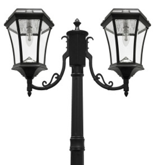 Solar lamp post light has double solar coach lights, and will illuminate your street, driveway, entrance and deck seating area.