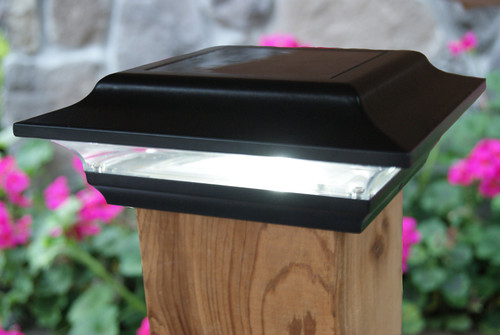 4.5 solar fence post cap lights have a separate mounting base that has been designed by Classy Caps to fit a 4.5 x 4.5 inch Trex deck post.