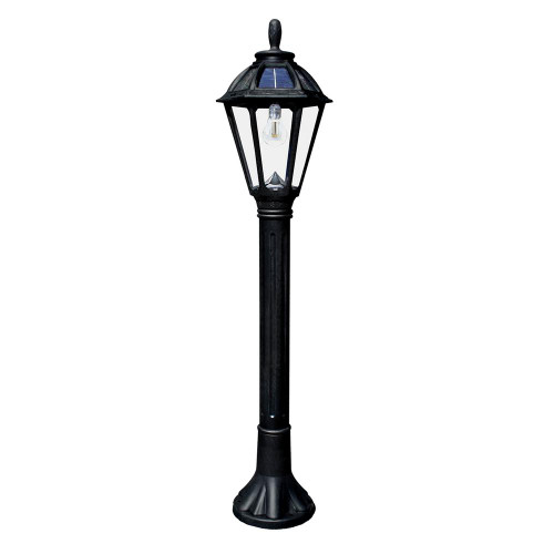 """Bollard solar light is 44.25"""" high, with a solar carriage lantern on top, and is available in Black or White."""