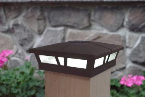 6x6 solar post cap lights in a Dark Brown satin finish for Vinyl, PVC or Wood posts.