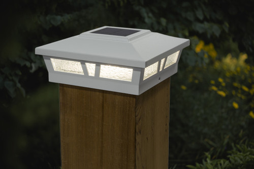 5x5 and 6x6 solar cap lights in a White satin finish for Vinyl, PVC or Wood posts.