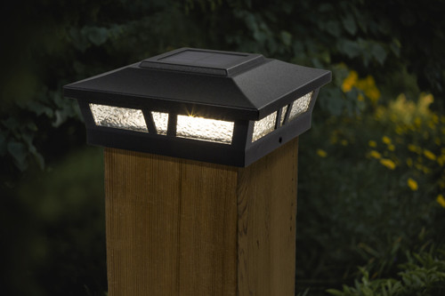 5x5 and 6x6 solar deck lights in a Black satin finish for Vinyl, PVC or Wood posts.