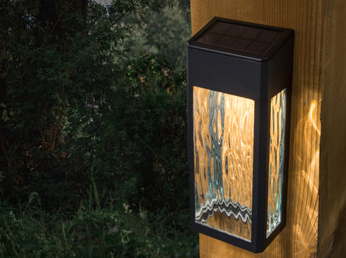 Solar deck lights have a ocean wave glass design that casts beautiful light at night.