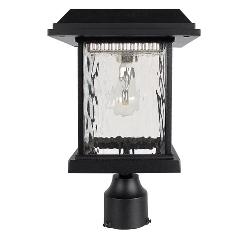 Gama Sonic solar lamp post light is made from cast aluminum with rain glass lenses.