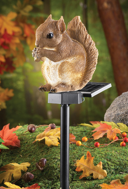 Solar squirrel light is adorable in your animal solar light garden.
