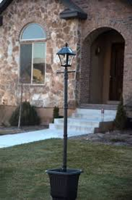 Solar Post Light with Planter and EZ Anchor - Solar Carriage Lantern