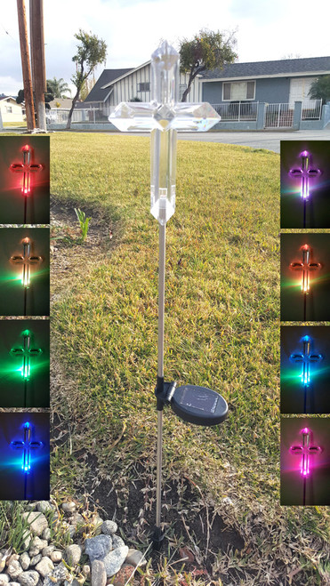 Solar cross lights have a Beveled look during the day, and spectacular curved lines when lit at night. The solar memorial cross lights stand 32 Inches High installed.