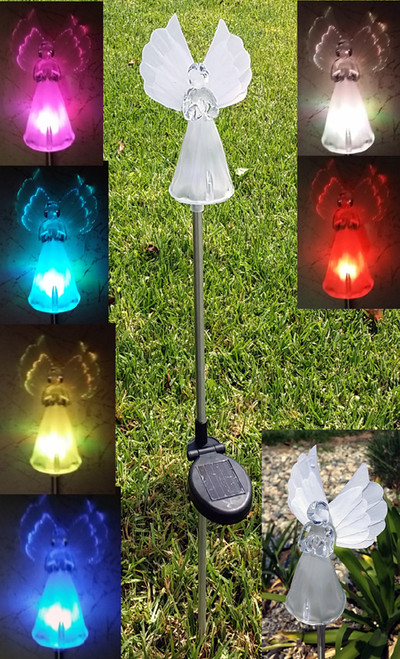 Angel solar lights will change color for 8 hours at night, for a gorgeous light show sure to mesmerize you and your guests.