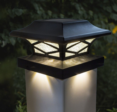 The solar post cap lights, by Classy Caps, fit a 3.5x3.5, 4x4, 5x5 and a 5.5x5.5 fence post, and have a Warm White LED Dual Lighting System.