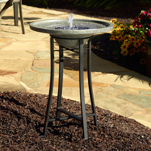Solar powered water fountain is a day running fountain. This image shows the Bubbler Fountain Head that is included with your purchase.