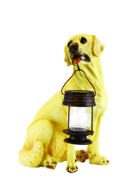 Solar animal garden light is a Yellow Labrador dog statue holding an LED solar hanging lantern in his mouth.