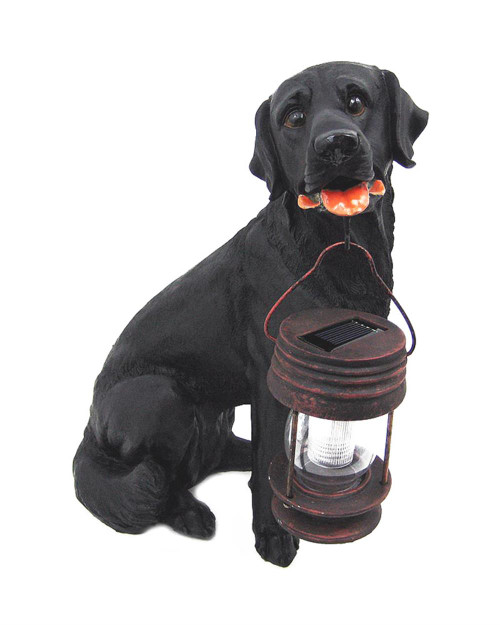 Dog solar light is an animal shaped solar light that is a Black Labrador Dog made from Poly-resin.