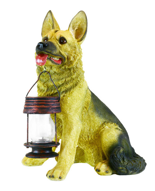 Dog holding a solar lantern in his mouth is a German Shepherd that is 17 x 12 x 8.