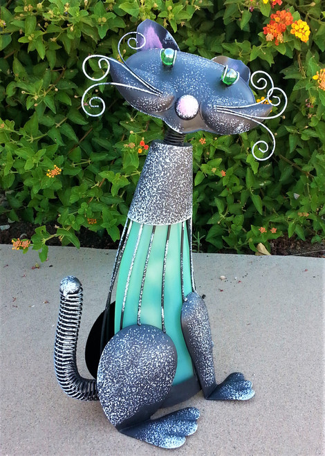 Cat solar light is named Spoiled, and stands 17 inches high.