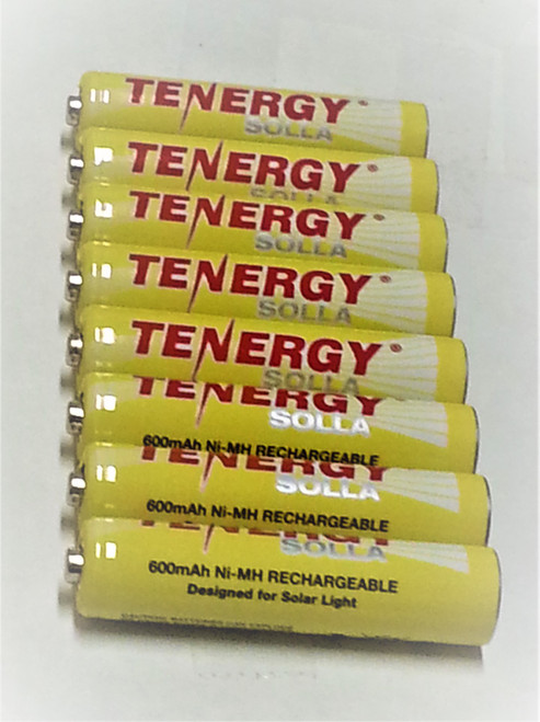 Tenergy rechargeable solar batteries are an 8-Pack of 1.2V AAA Ni-MH 600mAh for solar lights, with a 5 year life cycle.