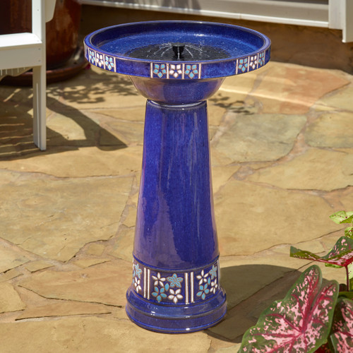 Smart solar water fountain stands 25.2 inches high, and has a basin that is 17 inches in Diameter.
