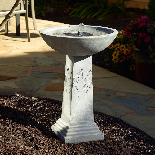 Birdbath solar fountain has an elegant weathered stone finish that will compliment your outdoor living space.