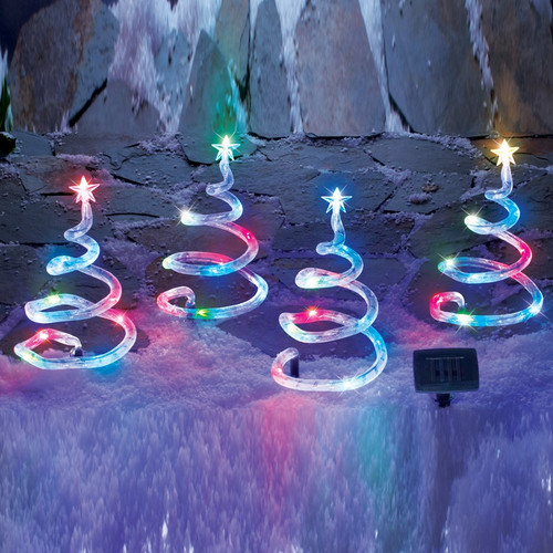 Christmas trees with solar lights are 15 inches high, and are made from Nylon, plastic and a metal spiral for stability.