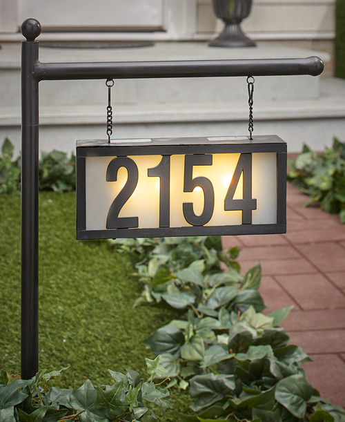 Solar powered address light is made from Metal, and has 4 Warm White LED bulbs to light up your home address at night.