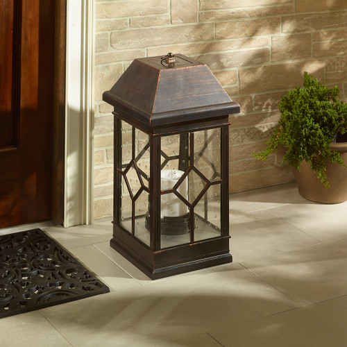Solar hanging lantern can also be used for floor lighting or table lighting. It stands 22.5 inches high and has an Antique Bronze Finish.