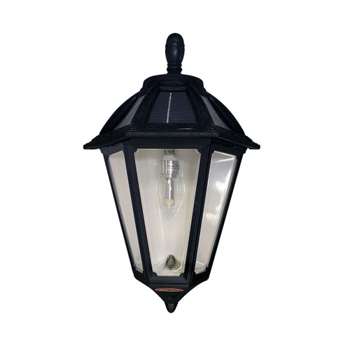 Solar carriage lantern is a Black Sconce design, approved for Coastal areas with high humidity and salt water.