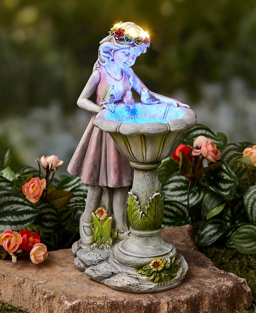 Girl fairy solar statue gazing at a water fountain with Blue LED.