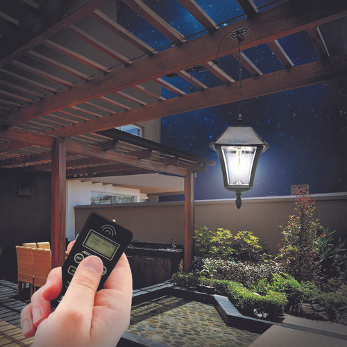 The Baytown Pendant lantern, outdoor pergola solar light, has Warm White 2700K LED bulbs, with 250 lumens of light output.