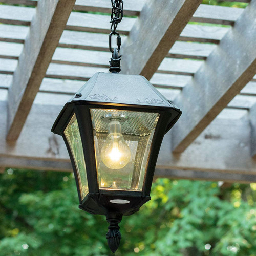 Solar hanging cupola and gazebo lantern with remote control and Warm White or Bright White LED.